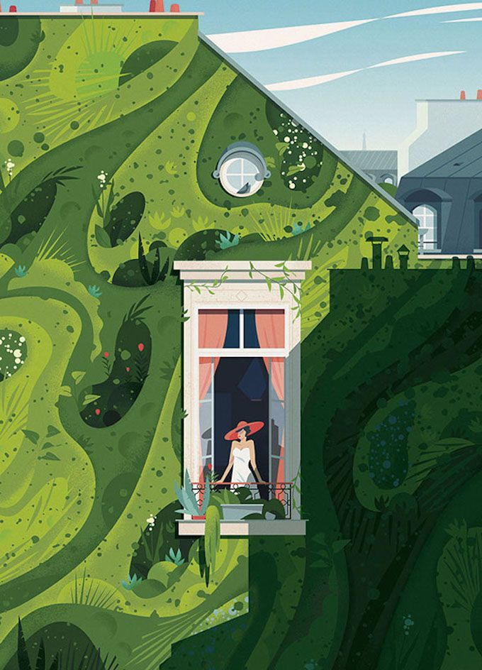 Cruschiform is the moniker for Marie-laure Cruschi, a French illustrator and graphic designer whose colorful digital works showcase the beauty of rural and urban landscapes.