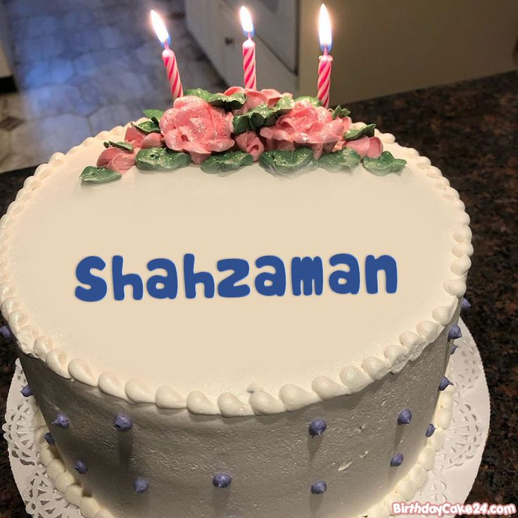 write name on happy birthday cake with candles in 2020