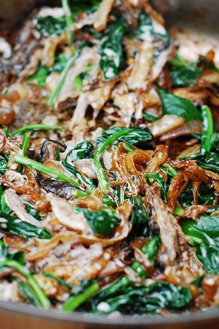 Sautéed Spinach, mushrooms, and caramelized onions. Can pour this over chicken, rice, & even pasta.