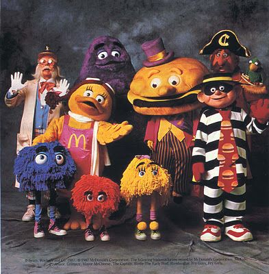 All of the McDonaldland characters! Officer Big Mac, Birdie the Early Bird, Grimace, Mayor McCheese, the Hamburglar, Captain Crook, and the Fry Guys!