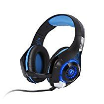 PS4 Headset, LESHP Gaming Headset 3.5mm Over Ear Headphones with Mic Microphone Wired Stereo Bass LED Light Noise Isolating Reduction LED Light 6.9Feet Long Cable for Play Station PS4 PC Computer
