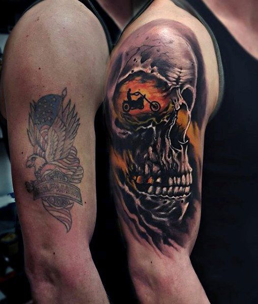 Biker And Harley Davidson Tattoos: Skull Motorcycle Rider Harley Davidson Arm Tattoos For