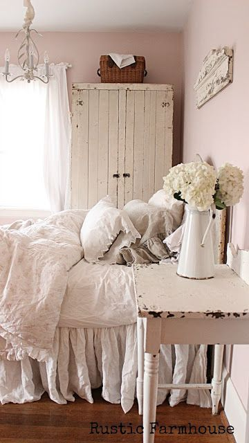 Oh yum... pink walls and love the shabby cupboard and bedding and little table. I want my bedroom to be like t his!