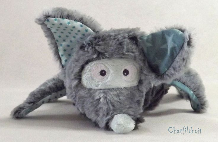 """Peluche loup """"loupapeur"""" gris et bleu turquoise- par Chatfildroit : Jeux, peluches, doudous par chatfildroit"""