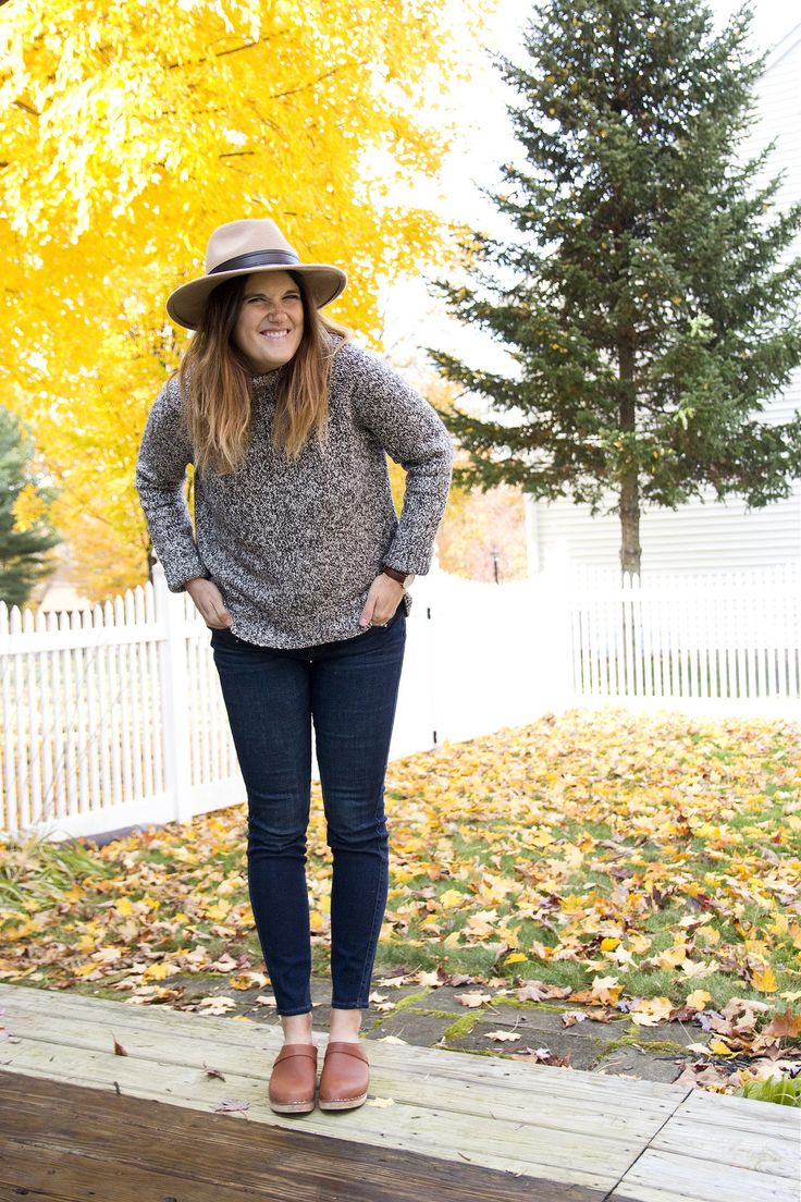 Lotta From Stockholm clogs, a.n.a. (JCPenney) sweater, Loft jeans #ClogsShoesWinter