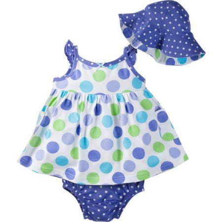 Gerber Newborn Baby Girl Sundress, Diaper Cover and Reversible Floppy Hat, 3-Piece Outfit Set, Multicolor