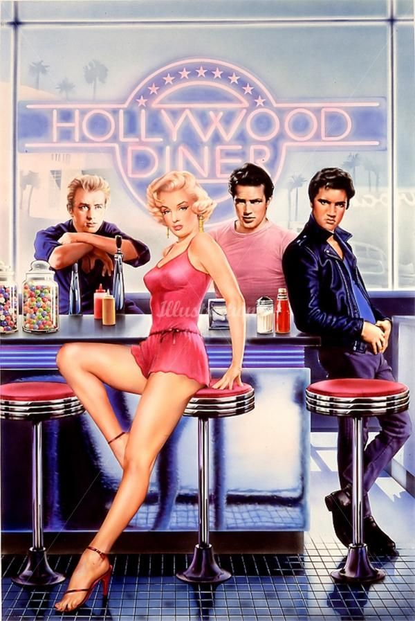 Hollywood Diner - Pin Up Illustrations by Syd Brak  #Hollywood #Diner #Rockabilly