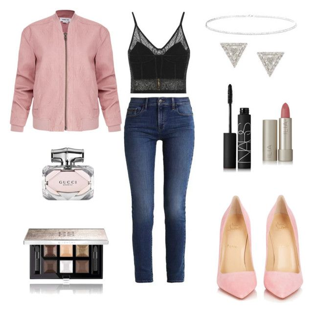 """""""Blushing Lace"""" by lilasiaan on Polyvore featuring Balmain, Calvin Klein, Christian Louboutin, Helmut Lang, Anne Sisteron, Lizzie Mandler, Ilia, NARS Cosmetics, Gucci and Givenchy"""