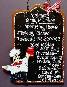 Black Sign Fat Chef Kitchen Operating Hours Plaque Wall Bistro Cucina Decor