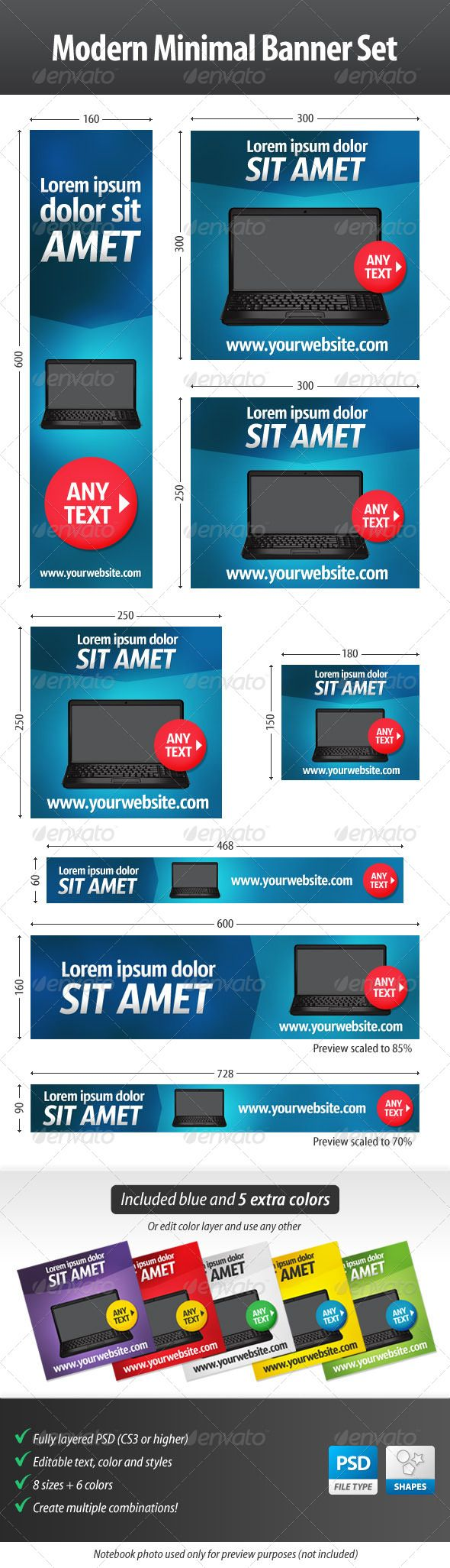 Modern Minimal Web Banner Set  #GraphicRiver         Modern Minimal Web Banner Set – Perfect for retailers of electronics: Create multiple color combinations to fit your needs and save time! Get ready to start your ad campaign with this professional web banner set.  	 Included are: 48 PSDs Minimum Adobe Version: Photoshop CS3  	 Fonts used: Sansus Webissimo – openfontlibrary.org/font/sansus-webissimo     Created: 19April13 GraphicsFilesIncluded: PhotoshopPSD HighResolution: No Layered: Yes…