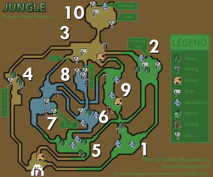 GameFAQs: Monster Hunter Freedom 2 (PSP) Jungle Resource Map by Scooty_Puff