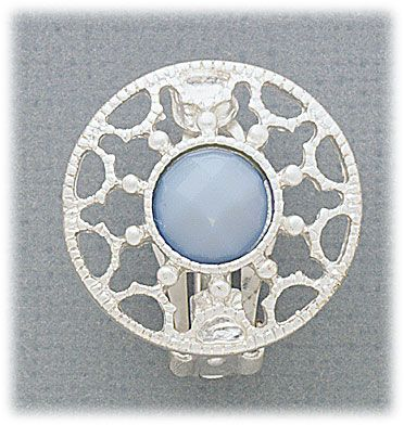 Simply Whispers hypoallergenic and nickel free Jewelry earrings clip on silver lace circle with blue stone center
