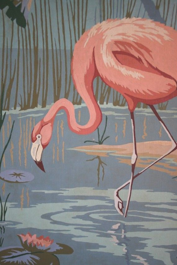 Kitsch - Paint by number flamingo painting - BIG