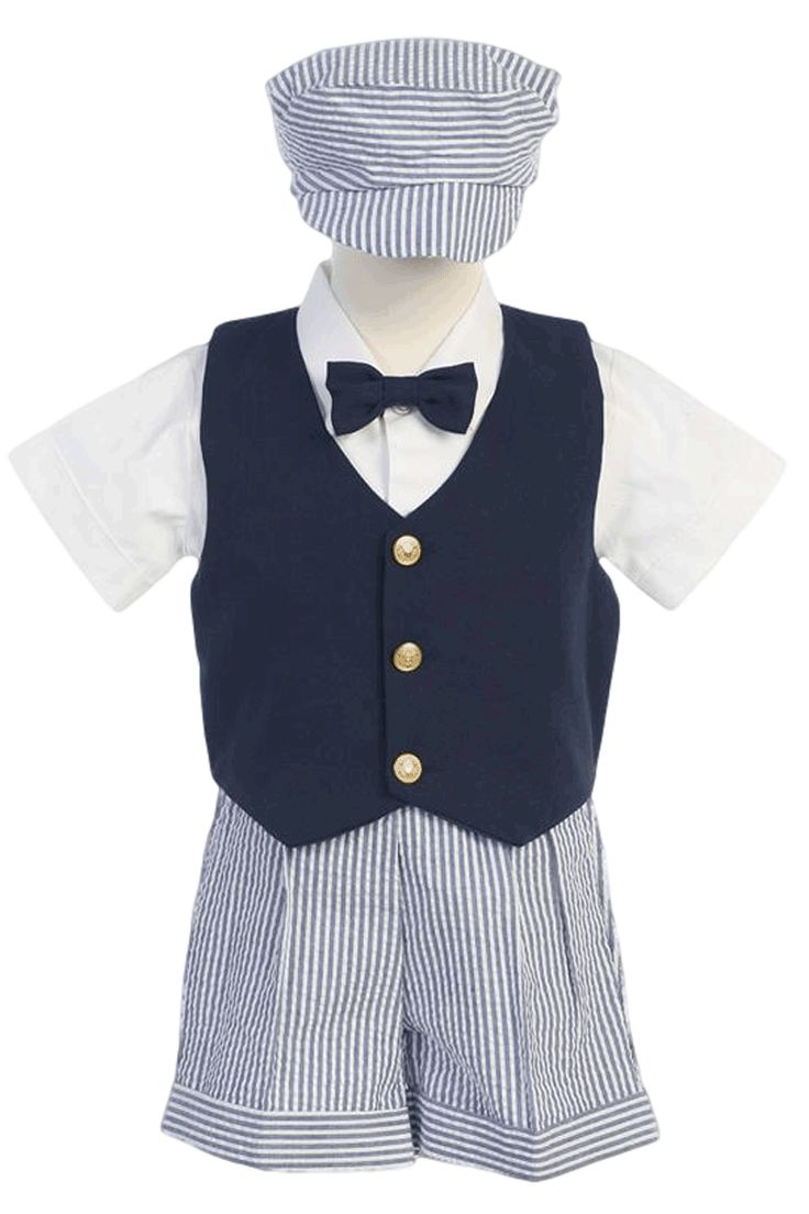 Navy Blue Vest & Seersucker Shorts Outfit 5 Pc Set (Baby or Toddler Boys)