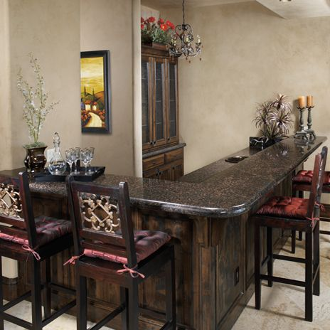 Tan Brown Granite And Dark/tobacco Stained Cabinets