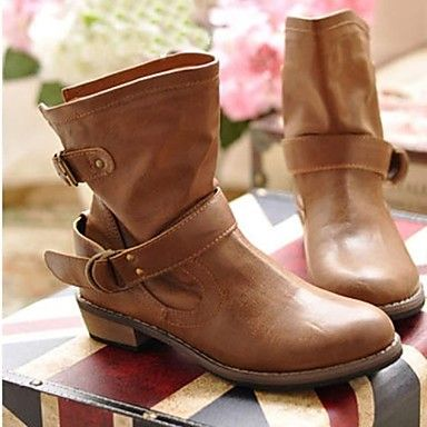 Motorcycle Round Toe Low Heel Ankle Boots with Buckle Women's Shoes (More Colors) - USD $ 30.09