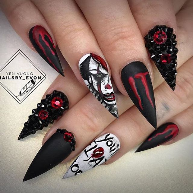 It Inspired Nailart Halloween Luxury Nails Horror Nails Swag Nails