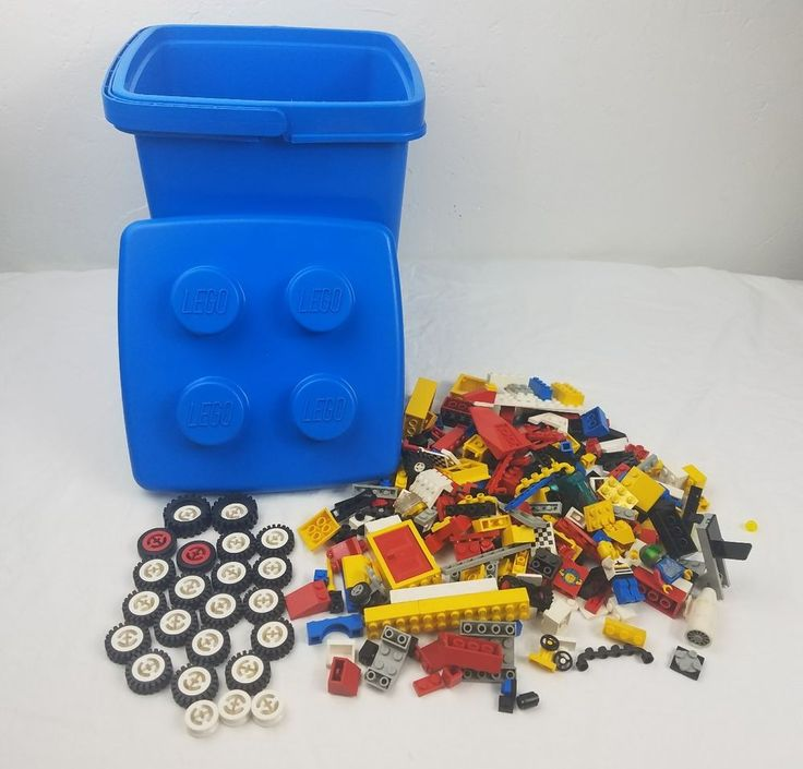 The bricks and accessories (there are a few hidden treasures in there) are in played with condition. This is a good sized lot of mixed parts, wheels and a blue bucket dated 1987. bucket has no cracks and is in great condition. | eBay!