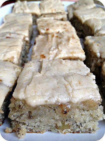 Banana bread brownies. these are unbelievable! Ingredients: 1-1/2 c. sugar 1 c. sour cream 1/2 c. butter, softened 2 eggs 1-3/4 (3 or 4) ripe bananas, mashed 2 tsp. vanilla extract 2 c. all purpose flour 1 tsp. baking soda 3/4 tsp. salt 1/2 c. chopped walnuts (optional)  Brown Butter Frosting: 1/2 c. butter 4 c. powdered sugar 1-1/2 tsp. vanilla extract 3 tbsp. milk