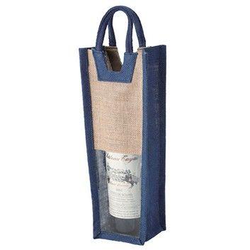 麻ワインバッグ窓付 1本用/ブルー  ANAショッピング A-style