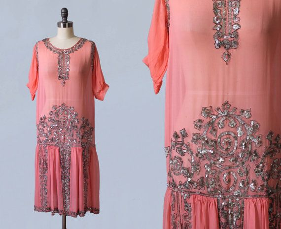 1920s Dress / Pink Sheer Chiffon Beaded Sequin Flapper Dress / GORGEOUS Mint Condition