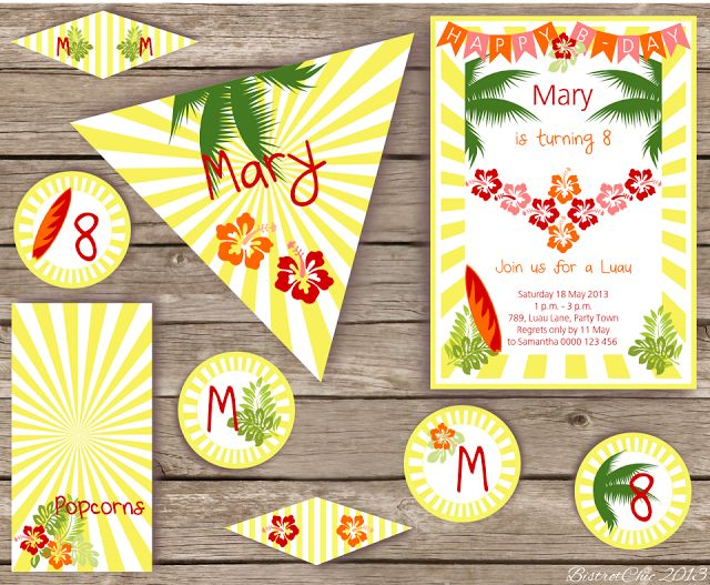 Luau Personalized Party Printables