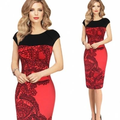 Elegant Ladies Pinup Red Sheath Fitted Business Shirt Dress