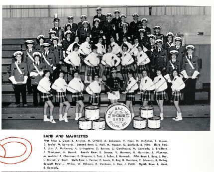 Ontario Agricultural College (OAC) and Macdonald Institute (MAC) marching band and majorettes - 1962.