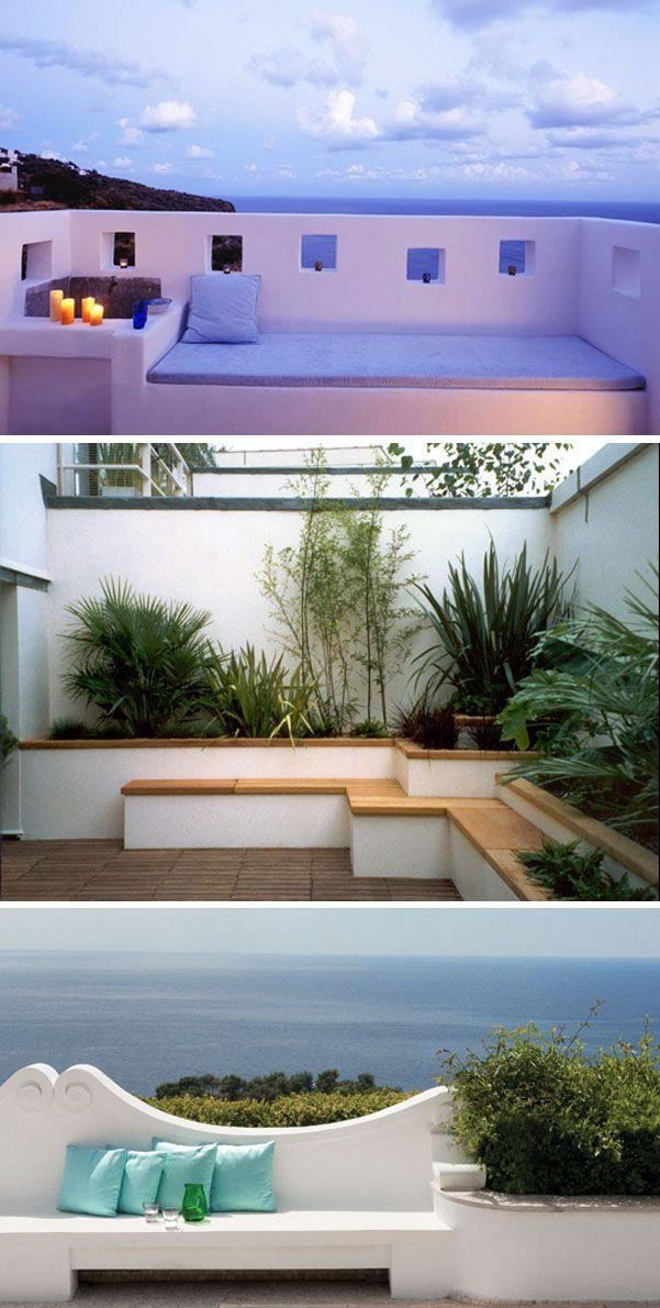 Banquettes ext rieures en ma onnerie terrasses jardins for Bancos exteriores jardin