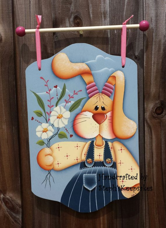 Handpainted Spring Bunny Banner,Wooden Girl Easter Bunny, Holiday, Welcome Greeter, Home Decor