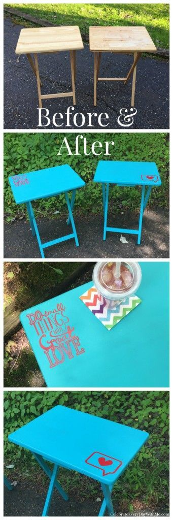 TV Tray Makeover - simple way to dress up a garage sale find.