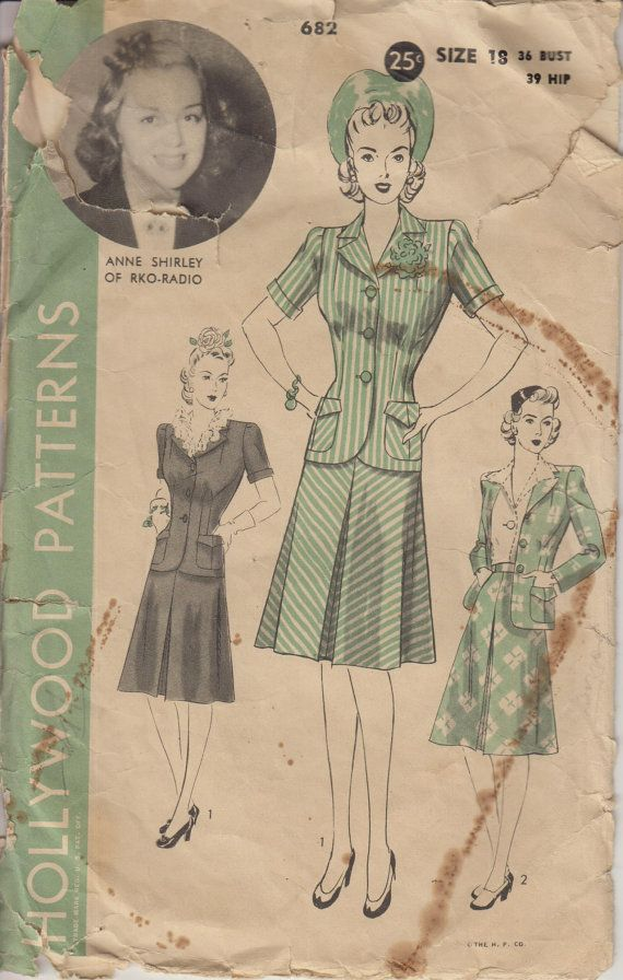 Vintage Sewing Pattern 40s Women's Suit with by HoneymoonBus
