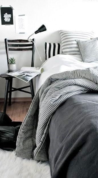 bedroom w/ mix stripe greys