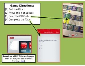 """Project QR code"" – Interactive phonics game board"