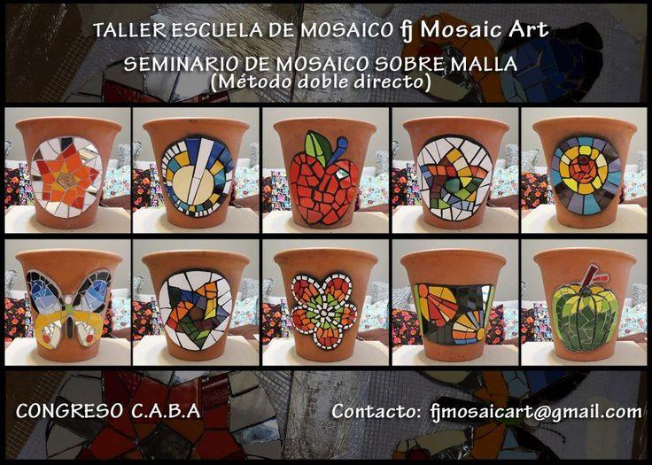 """Trabajos cada vez más hermosos en los Seminarios de Mosaico sobre Malla. Estamos orgullosos de nuestros alumnos!!   """"El método """"doble direc..."""