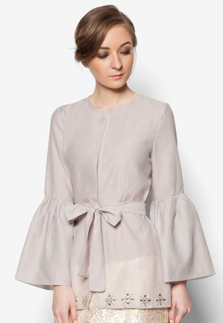 Organza Kimono Wrap from POPLOOK Premium for Zalora in grey_1