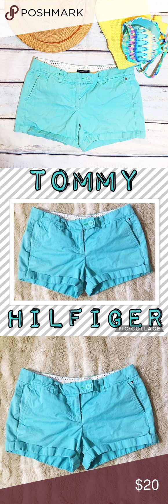 """Tommy Hilfiger Turquoise Shorts Tommy Hilfiger turquoise Shorts. Size 6. Great pop of color for spring and summer. Measures 16"""" flat at waist, 8"""" front rise, and 4"""" inseam.  #tommyhilfiger #turquoise #teal #aqua #shorts #chino #classic #chic #preppy #punkydoodle  No modeling Smoke free home I do discount bundles Tommy Hilfiger Shorts"""