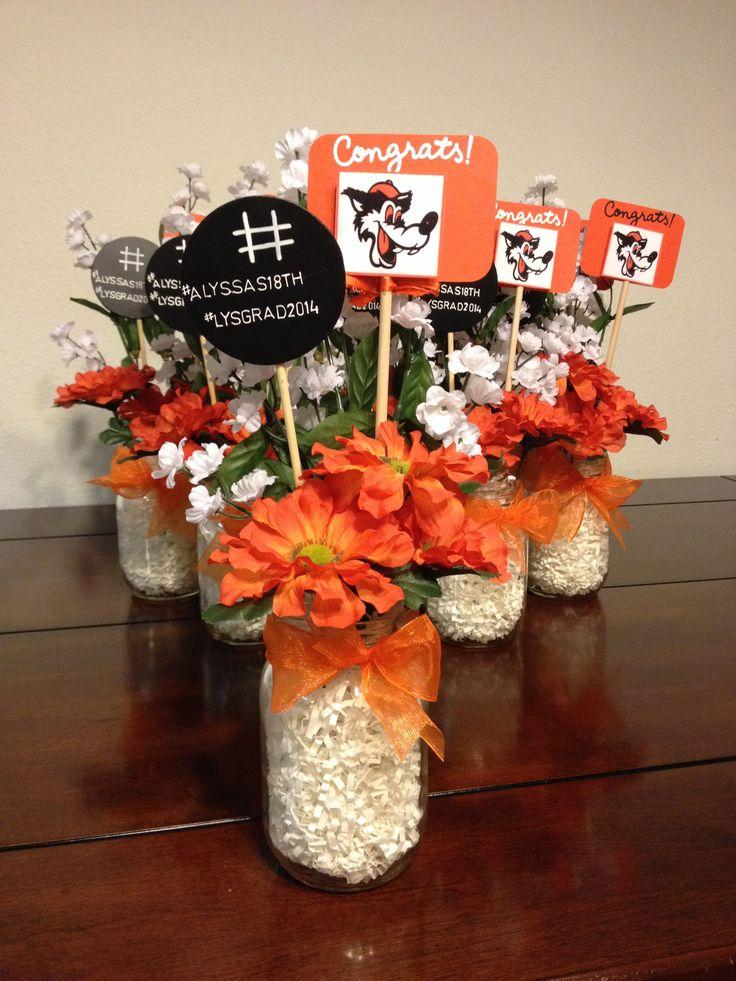Graduation table center pieces mason jars party