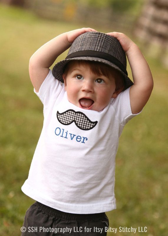 Personalized Mustache Applique Children's by ItsyBitsyStitchyLLC, $15.00