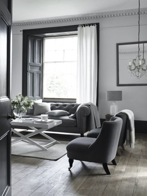 *Take inspiration from Savile Row with grey flannel upholstery. Hampstead sofa in wool, £2,500; Dulwich tub chair, £575; both The White Company *Provide a calm background with white walls and grey-stained floorboards offset with dark charcoal paintwork. Mylands Blackout Wood & Metal eggshell paint, £26 a litre, would give a similar effect. *Lighten the mood with a white coffee table and floaty curtains.