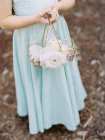 Mint Blue Whimsical Garden Wedding: Beautiful flower girl basket
