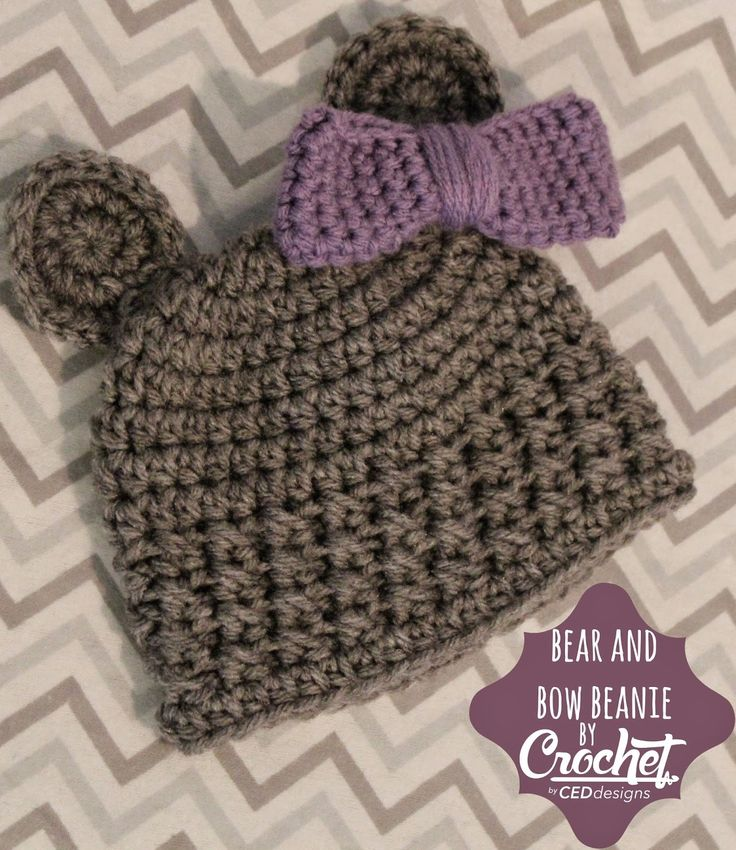 CEDdesigns: Crochet Bear Newborn Beanie with Bow: FREE Pattern