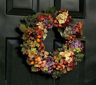 Gorgeous fall hydrangea shades in a wreath by Valerie