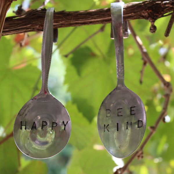 Gorgeous upcycleded metal spoon garden markers by the Metal Marketplace. 5 to a pack. Hanging style. Available in Summer Veggie Pack, Winter Veggie Pack, Herb G
