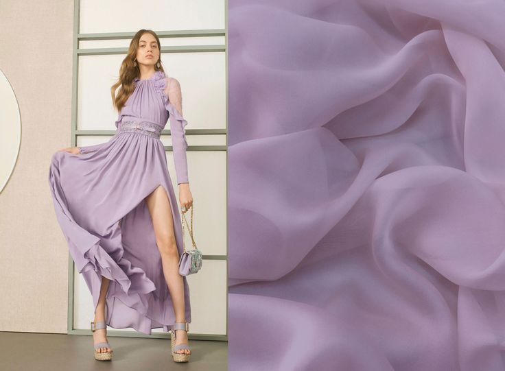 Get inspired by the look and create your own with this beautiful silk veil - available now at Malagoli Fabrics! #Fabrics #SilkVeil #Silk #MalagoliFabrics