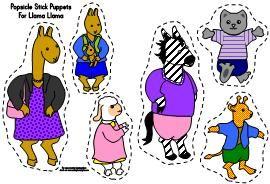Llama Llama Misses Mama stick puppet  templates