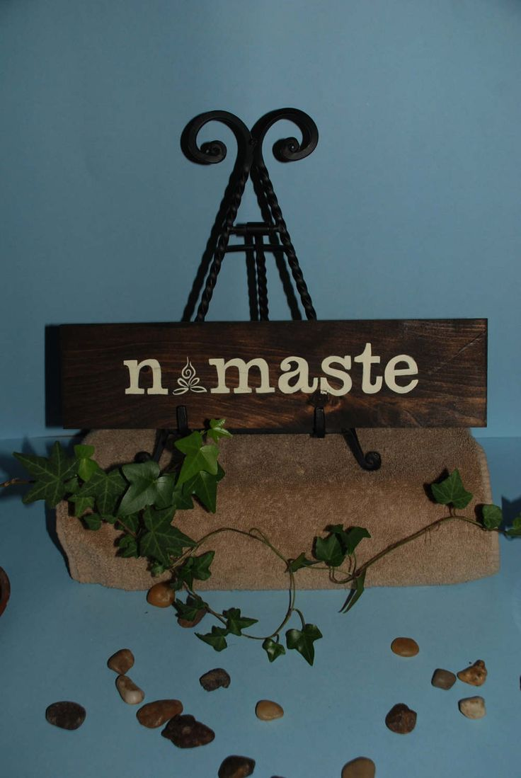 45 best hand crafted vintage signs and decor images on pinterest rustic namaste wood sign yoga sign inspirational saying home decor yoga studio