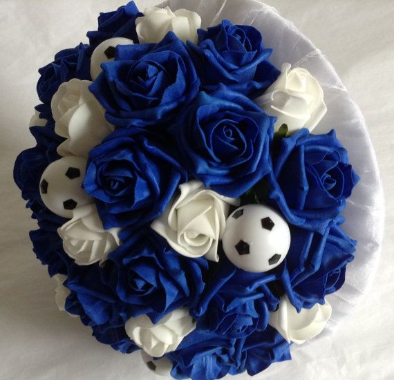 Bride's Wedding Bouquet of Royal Blue and White Roses by FlowerMix