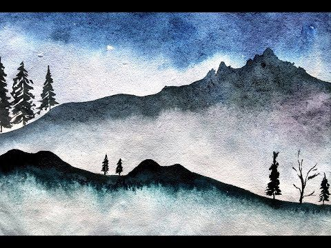 Simple And Easy Mountain Landscape Painting With Watercolor