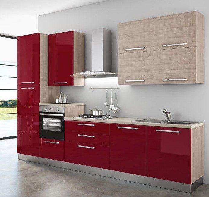 Cucina+componibile+,+Monika.++-+Basi+colore+Rosso+Bordeaux+Lucido,+pensili+(+H+96+)+con+ante+a+ribalta+essenza+Olmo+Astoria,+struttura+e+fianchi+finitura+essenza+Olmo+Astoria.+Modello+Monika.+Top+4+cm+bordo+ABS+finitura+Beige.+Sono+proposte+da+catalogo,+la+composizione+può+essere+personalizzata,+sostituendo+o+aggiungendo,+in+base+alle+proprie+esigenze,+puoi+chiedere+un+preventivo+gratuito.